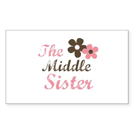 the middle sister pink brown flower Sticker (Recta