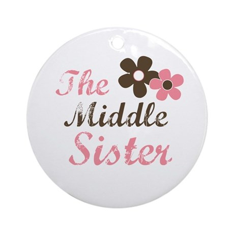 the middle sister pink brown flower Ornament (Roun