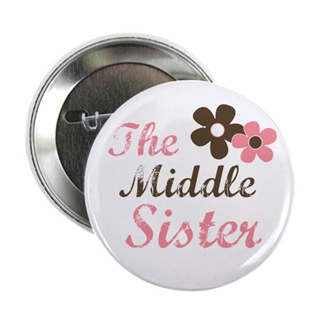 the middle sister pink brown flower Button