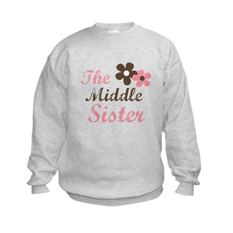 the middle sister pink brown flower Kids Sweatshir