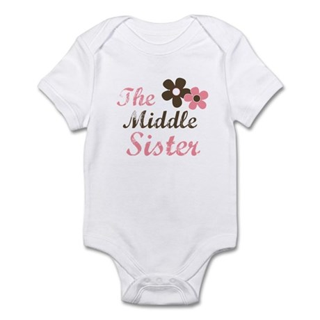 the middle sister pink brown flower Infant Bodysui