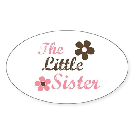 the little sister pink brown flower Oval Sticker