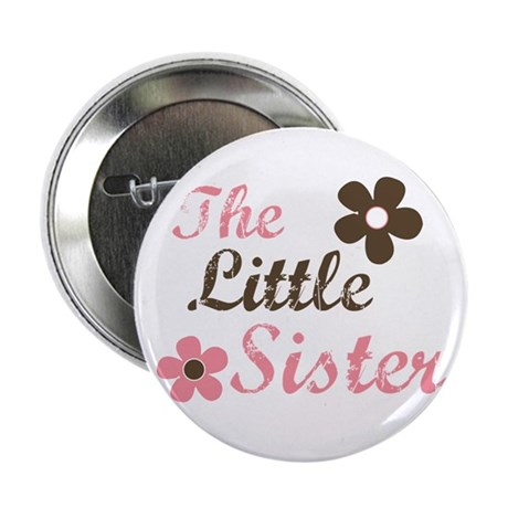 the little sister pink brown flower Button