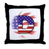 American flag monogram Throw Pillows