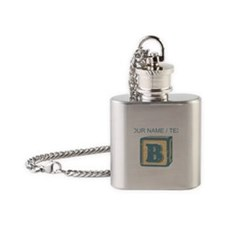 Custom Block Letter B Flask Necklace