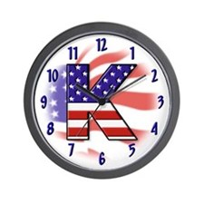 Flag Monogram K Wall Clock