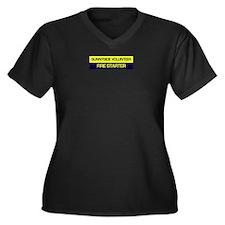 Unique Fire crew Women's Plus Size V-Neck Dark T-Shirt