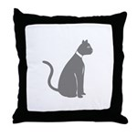 Gray Cat Throw Pillow