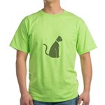 Gray Cat Green T-Shirt
