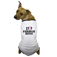 I Love French Boys Dog T-Shirt