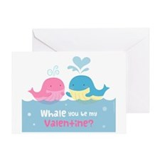 Cute Whale You Be My Valentine Pun Greeting Cards