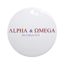 Red Alpha Omega Ornament (Round)
