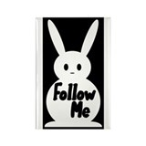 Follow Me White Rabbit Rectangle Magnet