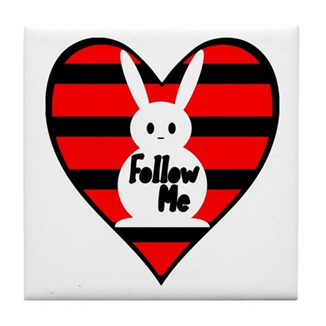 Follow Me White Rabbit Heart Tile Coaster