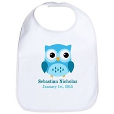 Blue Owl CUSTOM Baby Name Birthdate Bib
