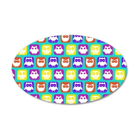 Cute Owl Bright Owl Pattern 20x12 Oval Wall Decal