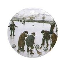 """Old time curling"" Ornament (Round)"