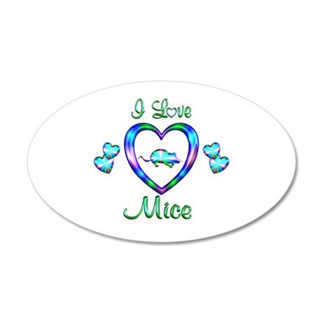 I Love Mice 35x21 Oval Wall Decal