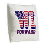 Wisconsin WI Forward Burlap Throw Pillow