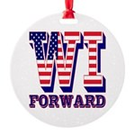 Wisconsin WI Forward Round Ornament