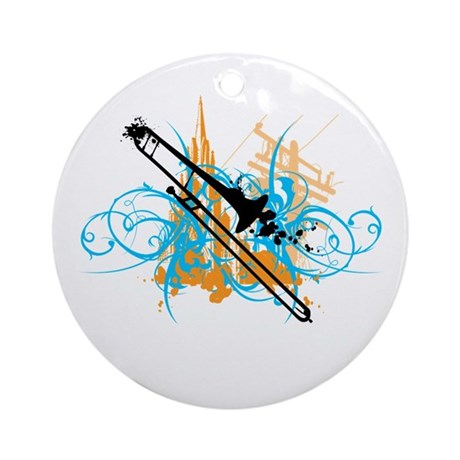 Urban Trombone Ornament (Round)