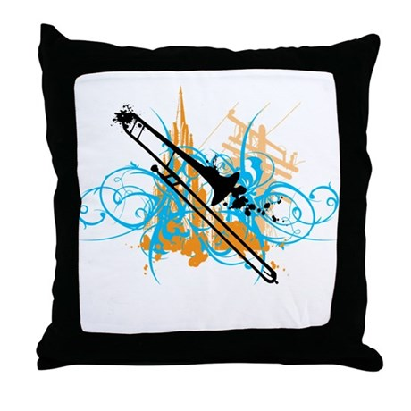 Urban Trombone Throw Pillow