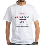 White T-shirt: Abet And Aid Punsters Day A pun is