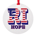 Rhode Island RI Hope Round Ornament