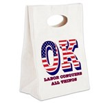Oklahoma OK Labor Conquers All T Canvas Lunch Tote