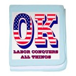 Oklahoma OK Labor Conquers All Things baby blanket