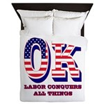 Oklahoma OK Labor Conquers All Things Queen Duvet