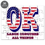 Oklahoma OK Labor Conquers All Things Puzzle