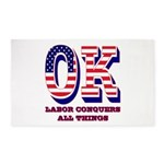 Oklahoma OK Labor Conquers All Things Area Rug