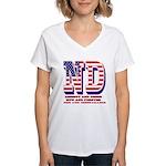 North Dakota ND Liberty And Women's V-Neck T-Shirt