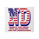 North Dakota ND Liberty And Union No Throw Blanket