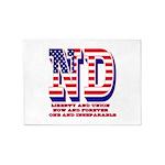 North Dakota ND Liberty And Union N 5'x7'Area Rug