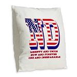 North Dakota ND Liberty And Un Burlap Throw Pillow