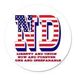 North Dakota ND Liberty And Union Round Car Magnet