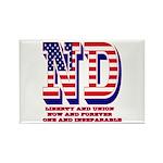North Dakota ND Liberty And Union Rectangle Magnet