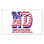 North Dakota ND Liberty And Un Sticker (Rectangle)