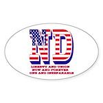 North Dakota ND Liberty And U Sticker (Oval 10 pk)