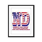 North Dakota ND Liberty And Uni Framed Panel Print