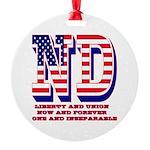 North Dakota ND Liberty And Union N Round Ornament