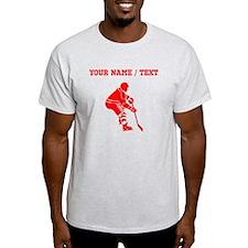 Red Hockey Player (Custom) T-Shirt