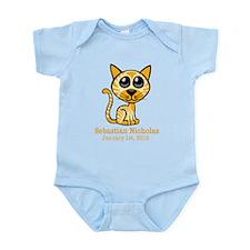 Yellow Kitty CUSTOM Baby Name and Birthdate Body S