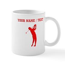 Red Golfer Silhouette (Custom) Mugs