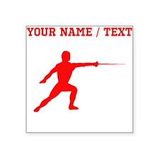 Red Fencer Silhouette (Custom) Sticker