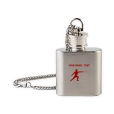 Red Fencer Silhouette (Custom) Flask Necklace