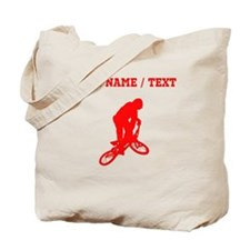 Red BMX Biker Silhouette (Custom) Tote Bag