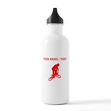 Red BMX Biker Silhouette (Custom) Water Bottle